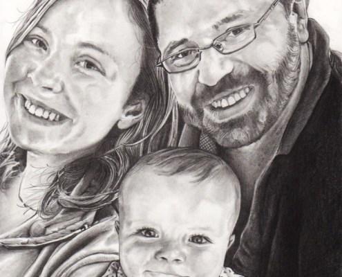 Portrait dessin d'après photo de famille, parents et bébé