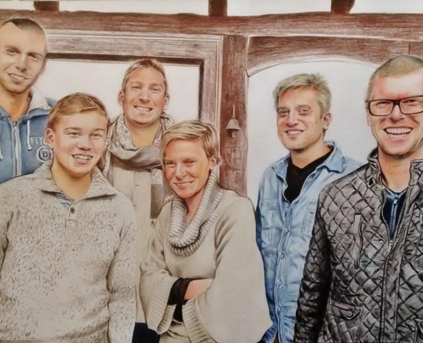 Portrait dessin d'après photo de famille