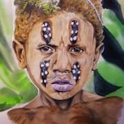 Portrait dessin d'un jeune garçon papou aux cheveux blonds