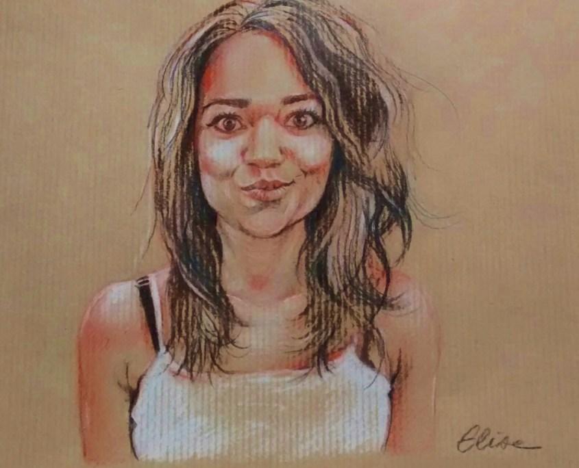 Portrait individuel : dessin d'après photo d'une jeune femme