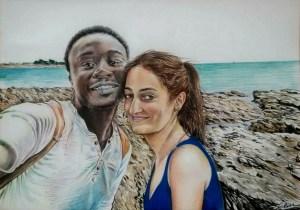 Portrait dessin d'après photo de couple en Bretagne