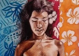 Portrait dessind'une jolie vahiné à la fleur de Tiaré