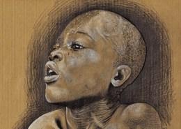 Portrait dessin d'un petit garçon ghanéen