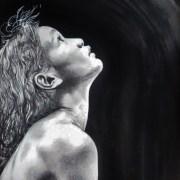 Portrait dessin d'une petite fille tahitienne dans la lumière