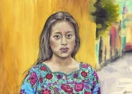Portrait dessin d'une jeune femme maya du guatemala