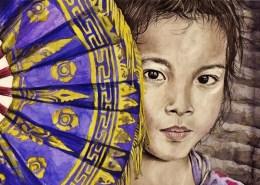 Portrait dessin d'une petite fille de bali à l'éventail
