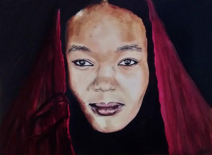 Portrait dessin d'une jeune femme libyenne au voile rouge