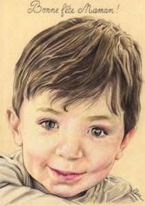 portrait-dessin-d-après-photo-enfant-petit-garçon-fête-des-mères