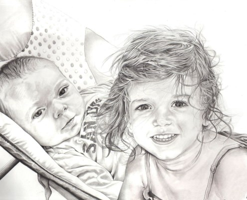 portrait-dessin-d-après-photo-enfants-frère-et-soeur-3