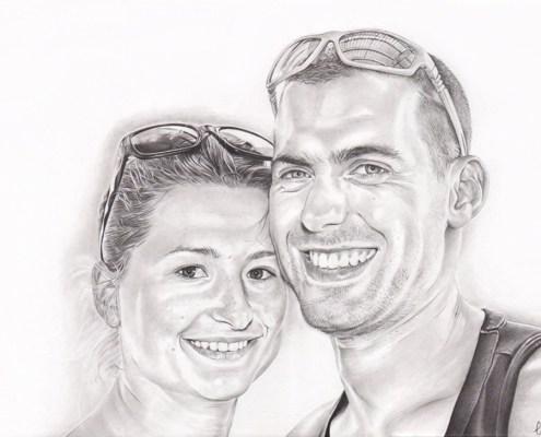 portrait-dessin-d-après-photo-couple-vacances-3