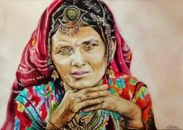 Portrait dessin d'une femme indienne au sari rouge