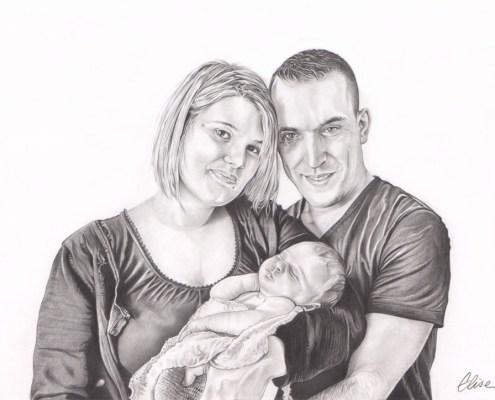 portrait-dessin-d-après-photo-couple-bébé