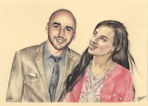 Portrait dessin d'après photo couple maghrébin