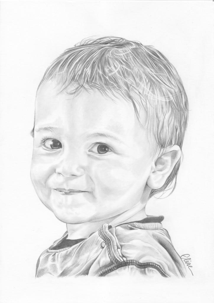 commandez un portrait dessin de votre enfant ou b b d 39 apr s photo. Black Bedroom Furniture Sets. Home Design Ideas