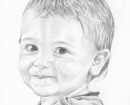 Portrait dessin d'après photo d'un petit garçon souriant