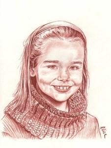 Portrait dessin d'après photo d'une petite fille au bandeau
