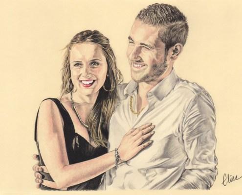 Portrait dessin d'après photo d'un jeune couple souriant en couleur