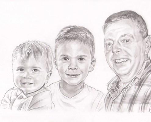 Portrait dessin d'après photo d'un grand père avec ses deux petits fils