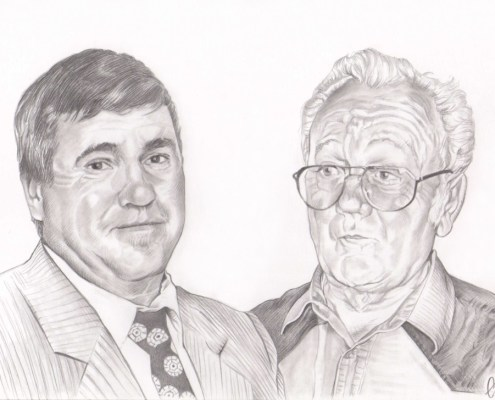 Portrait dessin d'après photo de deux grands-pères