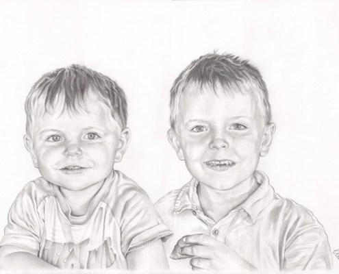Portrait dessin d'après photo de deux jeunes garçons en noir et blanc