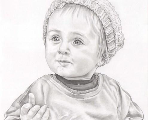 Portrait dessin d'après photo d'une petite fille au bonnet
