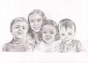 Portrait dessin d'après photos de cousins cousines en noir et blanc