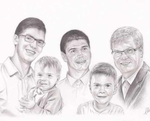 Portrait dessin d'après photo d'un grand-père avec son fils et ses petits-fils