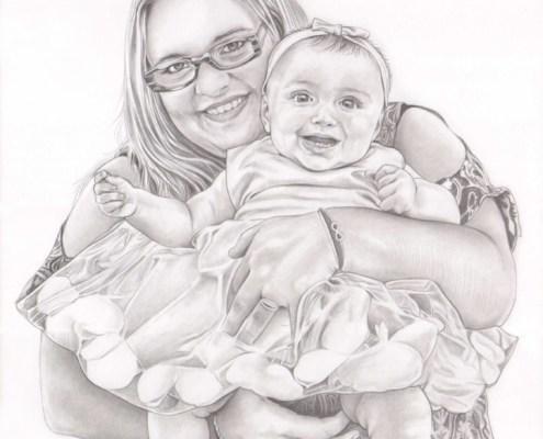 Portrait dessin d'après photo d'une mère et sa fille en robe de baptême