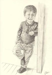 Portrait dessin d'après photo d'un petit garçon en entier noir et blanc