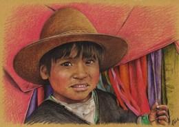 Portrait dessin d'un petit garçon d'Equateur aux joues roses