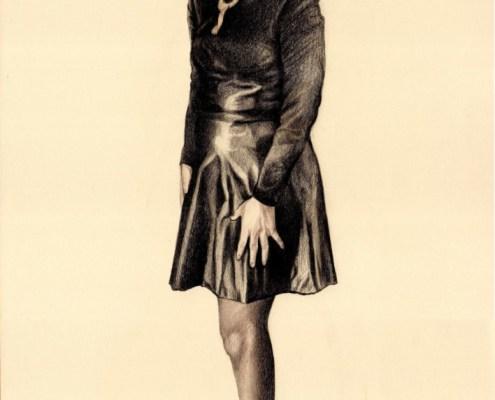Dessin portrait d'après photo d'une femme en entier en robe noire