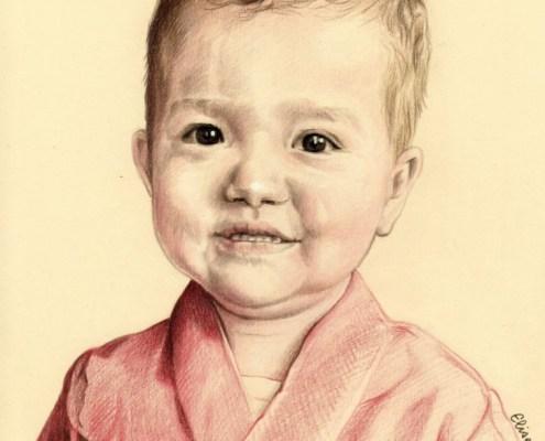Portrait dessin d'après photo d'un petit garçon en peignoir