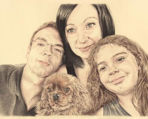 Portrait dessin d'après photo famille avec un chien