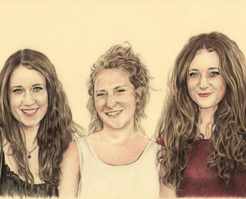 Portrait dessin d'après photo de trois sœurs