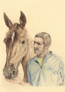 Portrait dessin d'après photo d'un homme avec son cheval