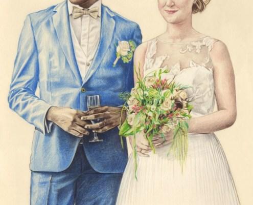 Portrait dessin d'après photo d'un jeune couple de mariés souriants