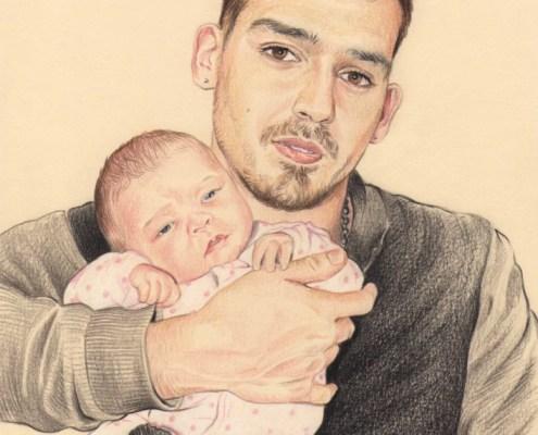 Portrait dessin d'après photo d'un jeune papa avec son bébé