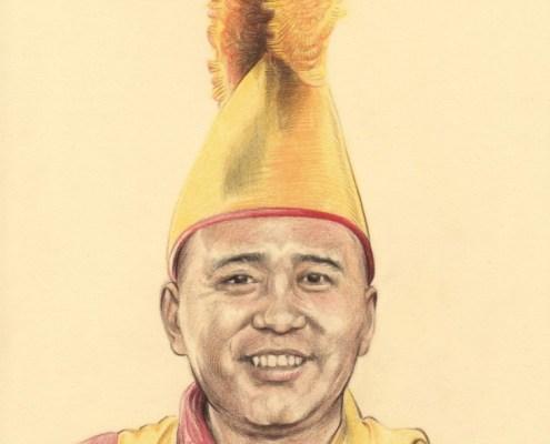 Portrait dessin d'après photo d'un lama tibétain