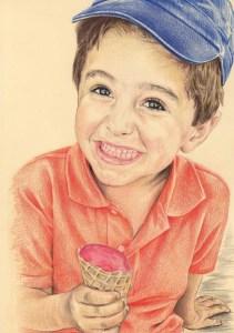 Portrait dessin d'après photo d'un petit garçon riant avec une glace
