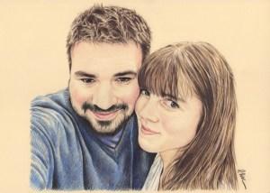 Portrait dessin d'un jeune couple d'après photo