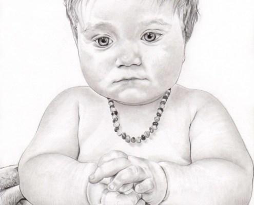 Portrait dessin d'après la photo d'un bébé avec un collier
