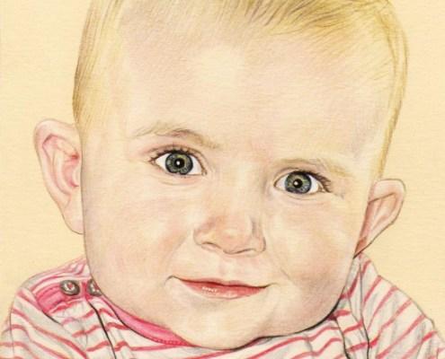 Portrait dessin d'après la photo d'un bébé en couleur