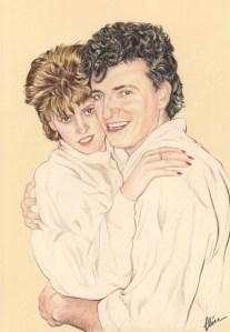 Portrait dessin d'après photo d'un couple en blanc