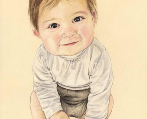Portrait dessin d'après la photo de baptême d'un bébé souriant