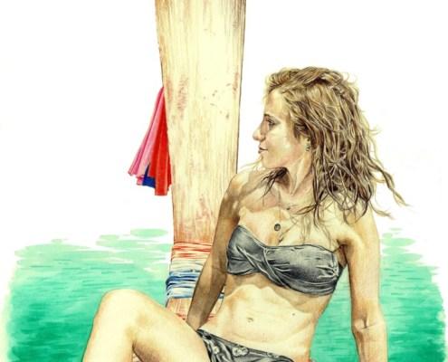 Dessin portrait d'après une photo de vacances d'une jeune femme sur une gondole
