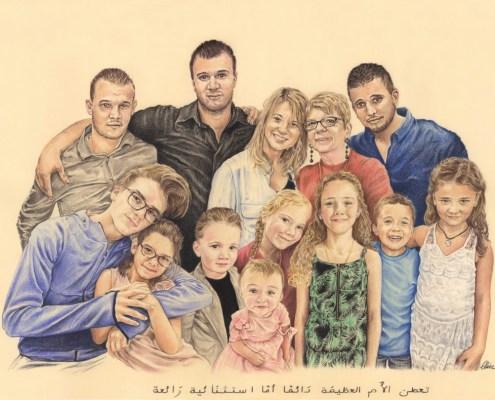 Portrait dessin d'après photo d'une famille élargie en couleur