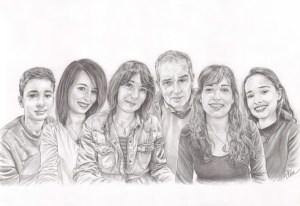 Portrait dessin d'après photo d'une famille réunie en noir et blanc
