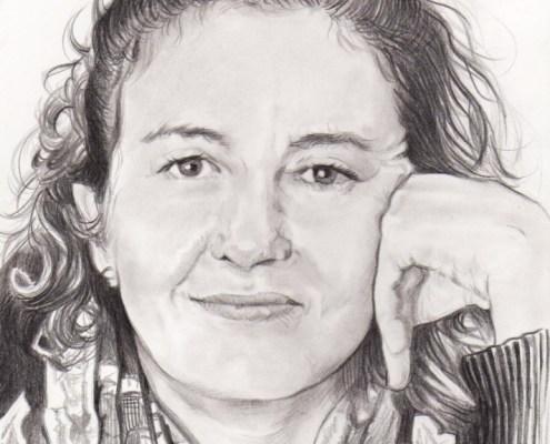 Portrait d'après photo d'une femme avec un foulard en noir et blanc