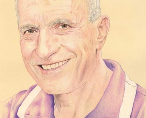 Dessin portrait d'après une photo d'un homme en polo mauve