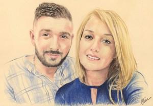 Portrait dessin d'après photo d'un jeune couple marié en bleu